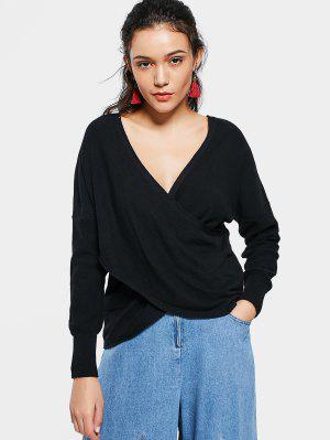 V Neck Crossed Front Sweater - Black M