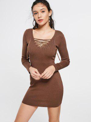 Lace Up Long Sleeve Knitted Dress