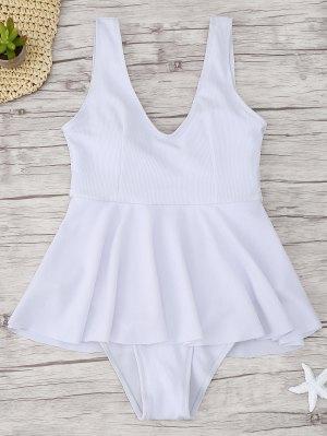 Ruffle Ribbed One Piece Swimwear - Blanco L