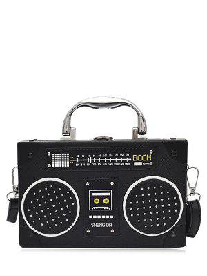 Faux Leather Radio Shaped Crossbody Bag - Black