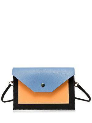 Flapped Color Block Cross Body Bag - Blue