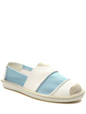 Elastic Band Striped Canvas Flat Shoes - Light Blue 37