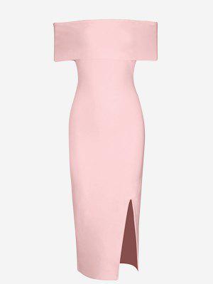 Off The Shoulder Side Slit Fitted Dress - Pink L