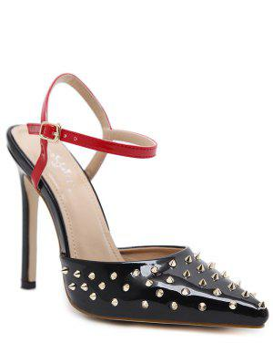 Rivets Slingback Patent Leather Pumps - Black 37