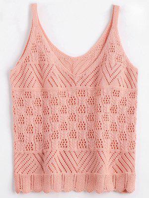 Vest V Neck Sheer Sweater - Pink Xl
