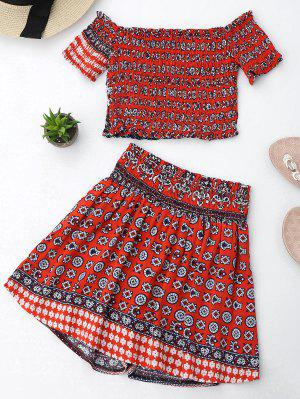 Tribal Print Crop Top Y Skorts Set - Rojo - Rojo S