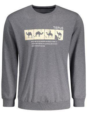 Camiseta Del Gráfico Del Camello Del Cuello - Gris Oscuro 2xl