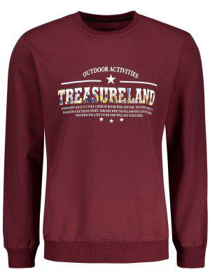 Treasureland Graphic Crew Neck Sweatshirt - Dark Red - Dark Red L