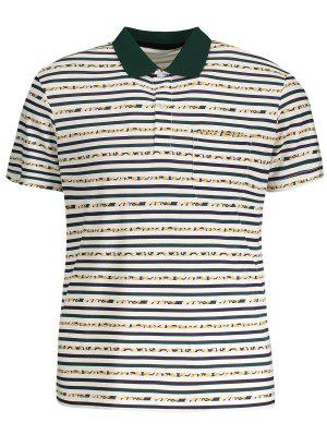 Pocket Striped Polo Shirt - White - White M