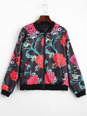 Zip Up Floral Print Bomber Jacket - Floral S