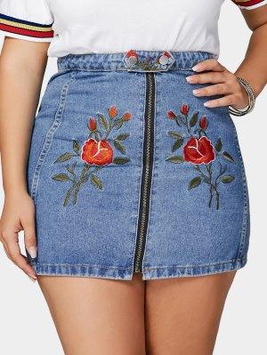 Flower Embroidered Plus Size Denim Skirt - Blue 3xl