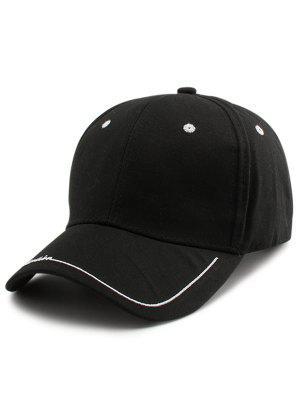 La Línea De Letras Adornó El Sombrero De Béisbol Del Borde - Negro