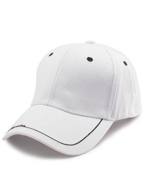 Line Letters Embellished Brim Baseball Hat - Blanc