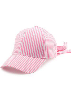 Chapeau De Baseball à Queue Longue Bowknot à Rayures - Rose PÂle