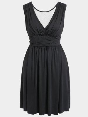 Ruched Back Low Cut Plus Size Dress - Noir 2xl