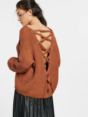 Back Lace Up Drop Shoulder Sweater - Coffee