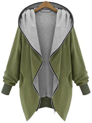 Manteau à Capuche Grande Taille Zippé