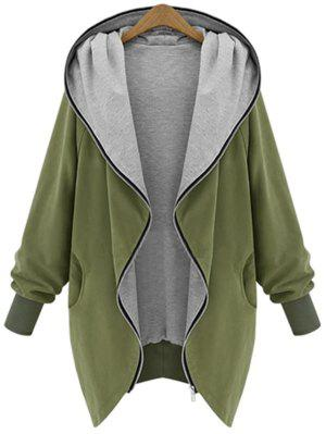 Zip Up Plus Size Hooded Coat