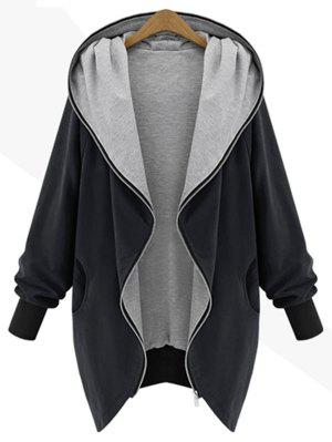 Zip Up Plus Size Kapuzenmantel