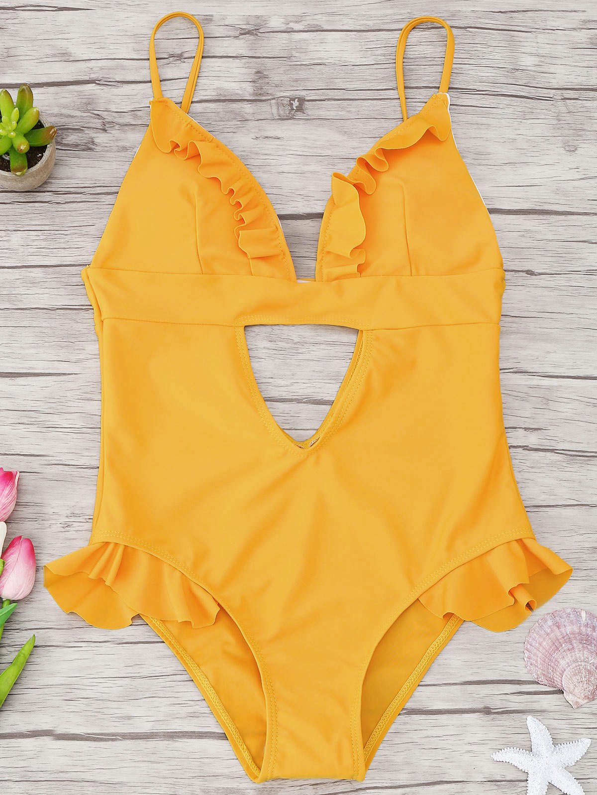 Cutout Frilled One Piece Swimsuit 222850603