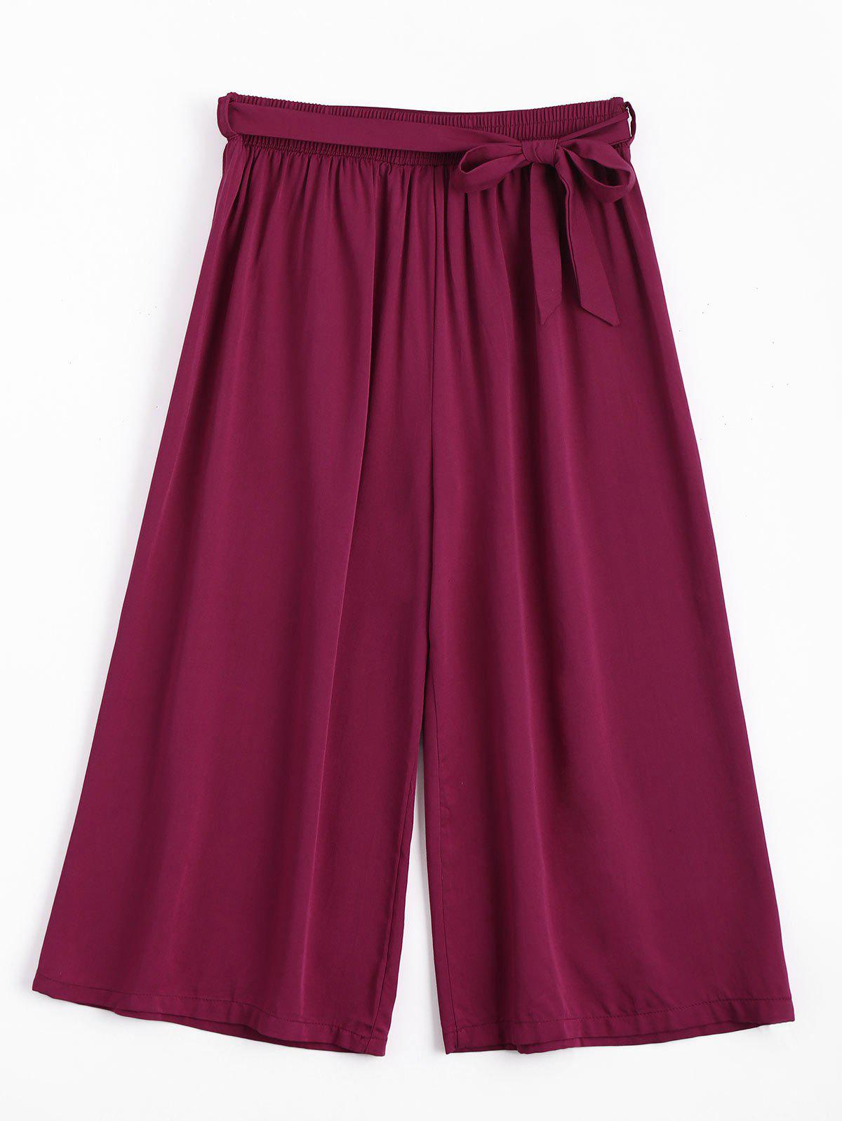 Capri High Waisted Belted Wide Leg Pants 222897201