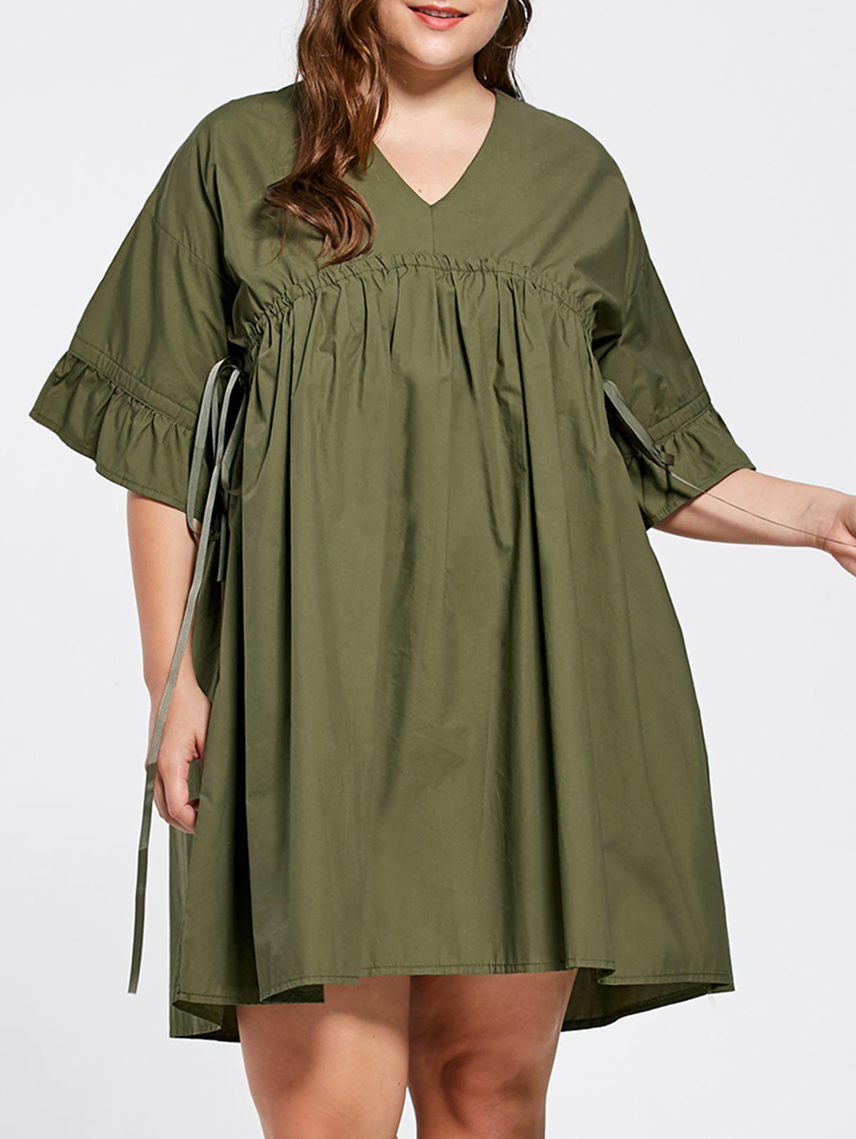 Plus Size Flare Sleeve Babydoll Dress