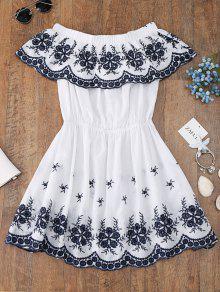 قبالة الكتف مطرزة التستر اللباس - أبيض S