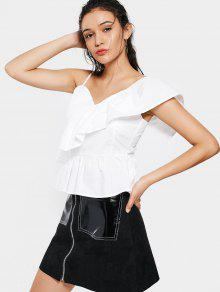 Sleevelesss One Strap Flounces Top - White S