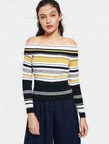 Fitting Stripes Off Shoulder Knitwear - Stripe M
