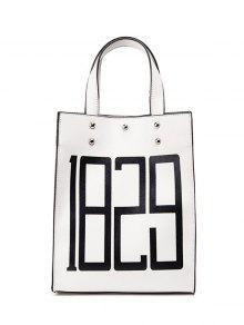 Studded Figure Print Tote Bag - White