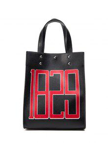 Studded Figure Print Tote Bag - Black