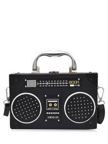 حقيبة كروسبودي على شكل راديو من الجلد المزيف - أسود
