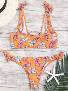 Back Lace Up Tied Pineapple Bikini - Orange M