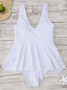 الكشكشة مضلع قطعة واحدة ملابس السباحة - أبيض L
