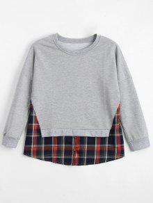 Loose Checked Panel Sweatshirt - Light Gray S