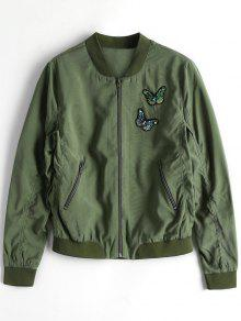 Zip Up Butterfly Beading Bomber Jacket - Army Green S