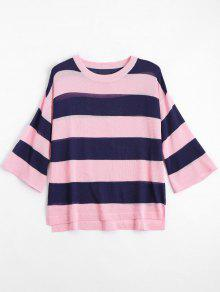 Loose Stripes Crew Neck Sweater - Pink 2xl