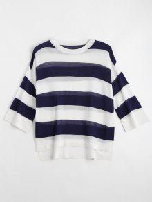 Loose Stripes Crew Neck Sweater - Deep Blue Xl