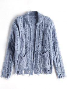 Open Front Ripped Cable Knit Cardigan - Stone Blue