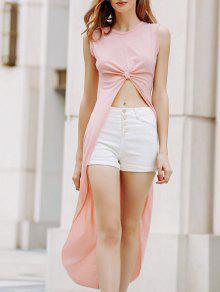 فستان عالية انخفاض بلا أكمام دائرة الرقبة  - مشمش Xl
