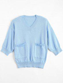 V Neck Loose Sweater With Pockets - Light Blue S