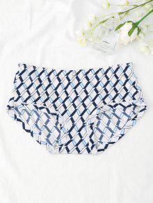Hipster Grid Print Mid Waist Panties - White