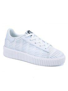 Tie Up Mesh Breathable Athletic Shoes - White 37