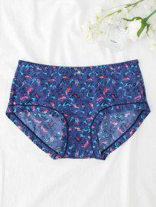 Hipster Bird Print Mid Waist Panties - Deep Blue