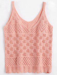 Vest V Neck Sheer Sweater - Pink S