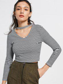 Keyhole Neck Striped Knitted Tee - Stripe L