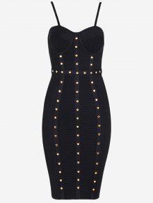 فستان الضمادة كامي مطرز - أسود S