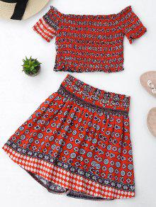 Tribal Print Crop Top And Skorts Set - Red M