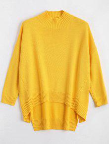 High Low Oversized High Neck Sweater - Yellow L