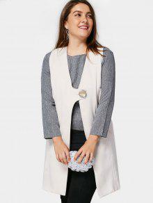 Plus Size Longline Waistcoat - Off-white 3xl